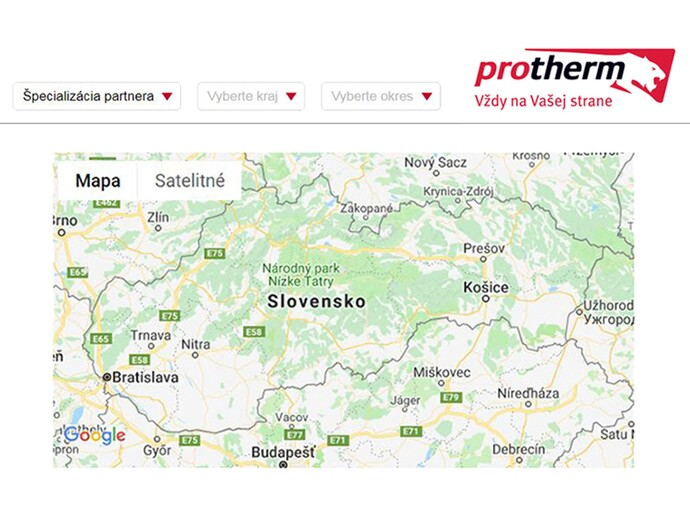 Mapa servisných a montážnych partnerov značky Protherm